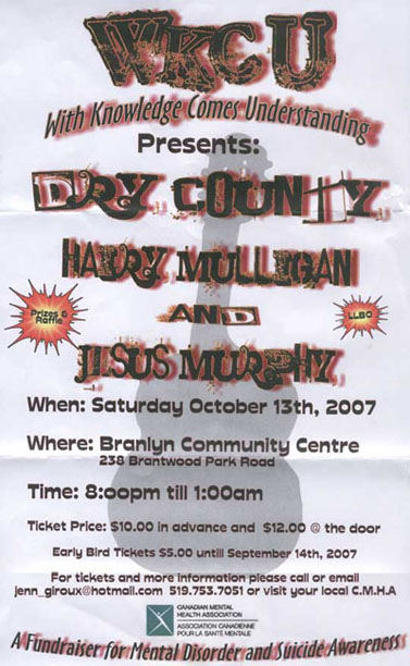 The Mulligans join Dry County, Jesus Murphy and the Canadian Mental Health Association at a fund raiser for mental health awareness.